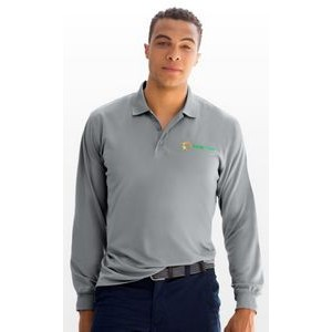 Vansport Omega Solid Long Sleeve Mesh Tech Polo Shirt
