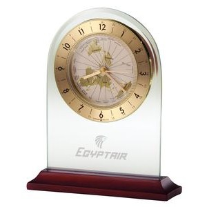 Howard Miller World Time Glass Arch Alarm Clock w/ Rosewood Base